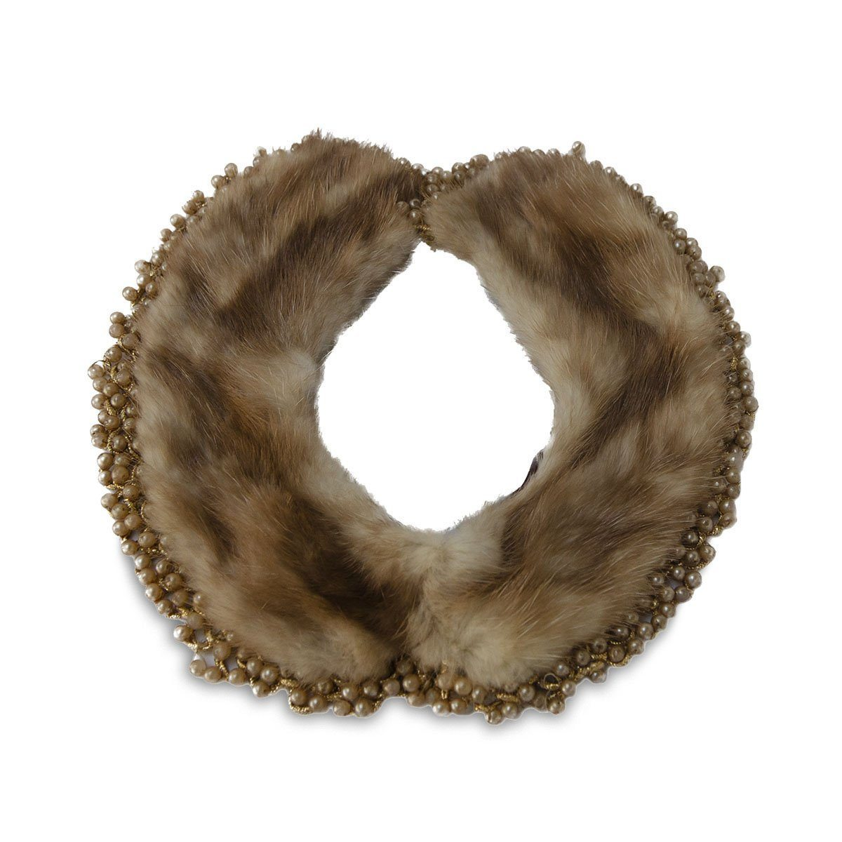 1940s Brown Mink Beaded Collar Necklace, 21″