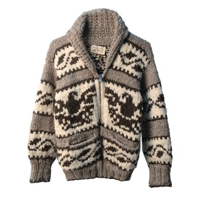 Canadian First Nations Cowchin Cardigan Sweater, Thunderbird Design