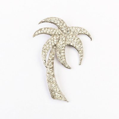 Vintage Rhinestone Palm Tree Brooch