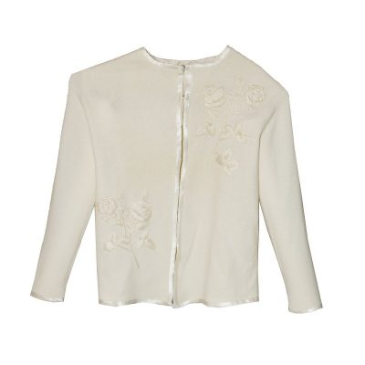 Sakowitz Cream Cardigan Sweater, Large Embroidered Roses, Vintage 60s