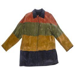 vintage 1970s jacket, colorblock suede