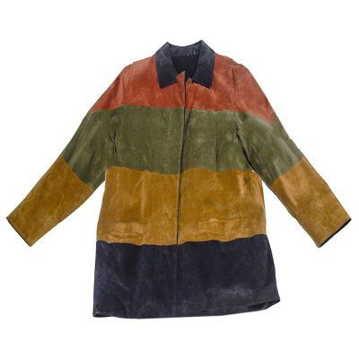 vintage 1970s jacket, colorblock suede