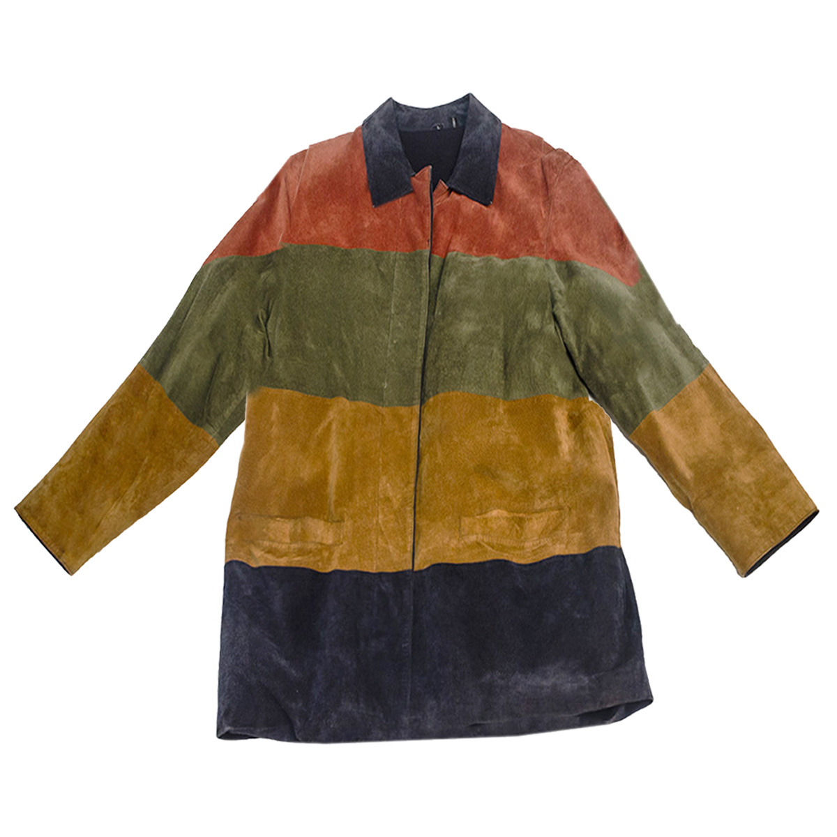 Striped Suede Jacket Blue, red, green, yellow copy