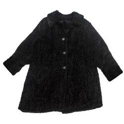 Vintage 60s Black Persian Lamb Wool Car Coat