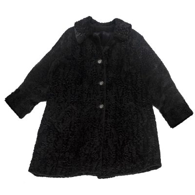 Vintage 60s Black Persian Lamb Wool Car Coat