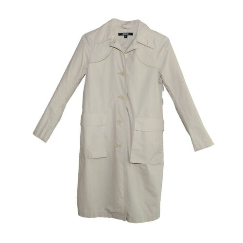Vintage Donna Karan Tan Trench Coat, DKNY, Patch Pockets, Size 4