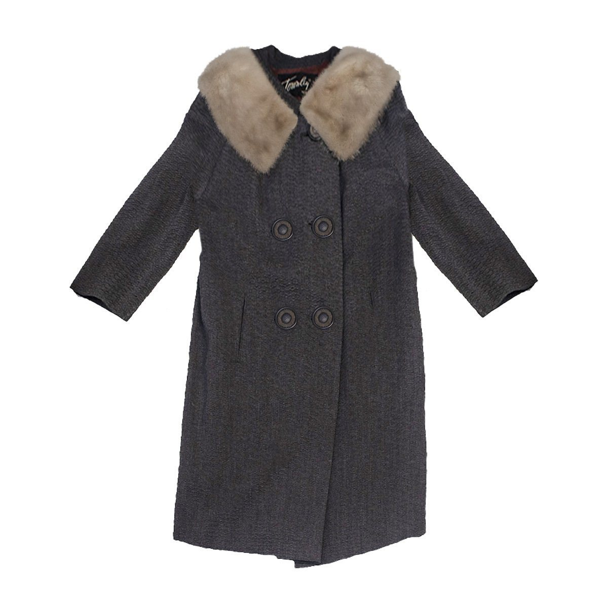 Fox Trimmed Gray Wool Coat by Muse's Townley, Forstman Stevens Fabric