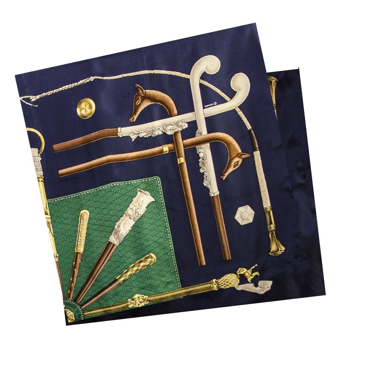 Vintage Hermes Silk Scarf, Walking Sticks, Cannes et Pommeaux, Françoise De La Perriere, Navy Blue & Green