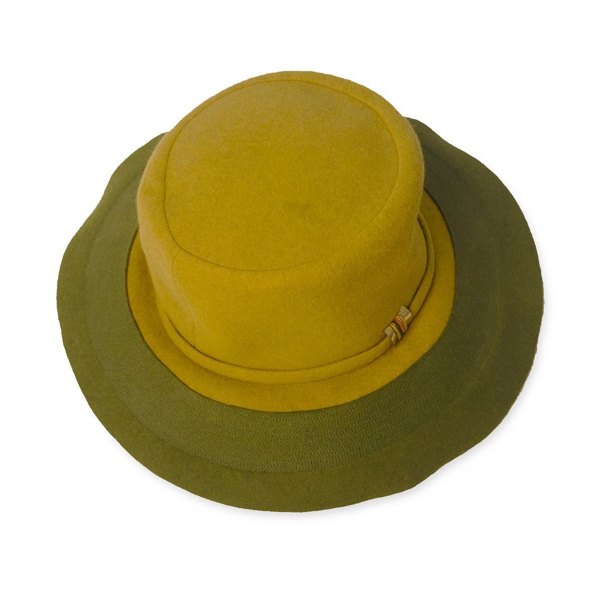 Vintage 60s Mod Wide Brim Hat by Leslie James, Green & Yellow Wool Felt