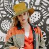 Vintage 60s Mod Wide Brim Hat by Leslie James, Green & Yellow Wool Felt
