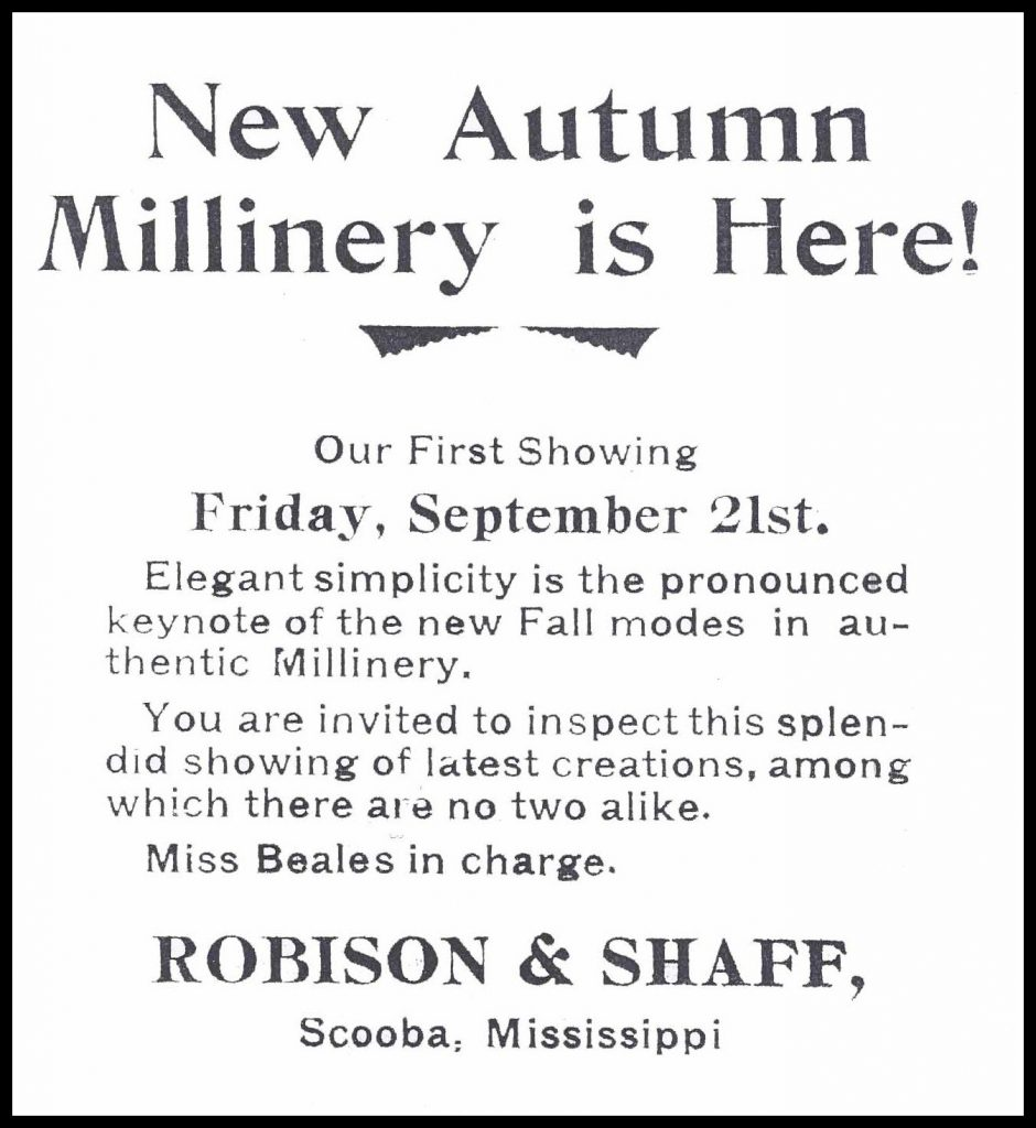 My Grandmother's Millinery Ad 1917