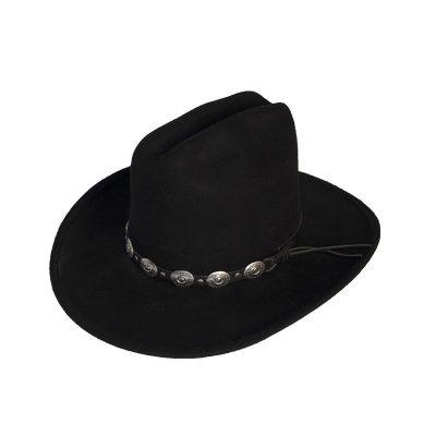 Black Cowboy Hat, Silver Metal Concho Hatband, Western Style