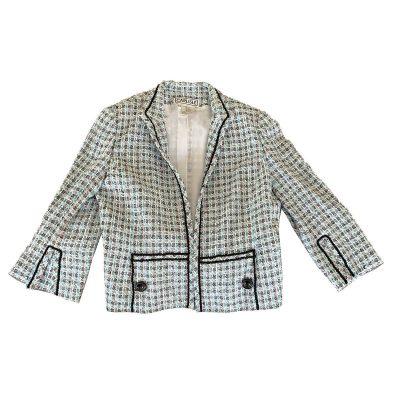 Carlisle Silk Boucle Designer Blazer, Size 14, Aqua Blue, Gray & White