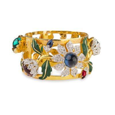 "1939 Coro ""Carmen Miranda"" Rhinestone Gold-Plated Bracelet"