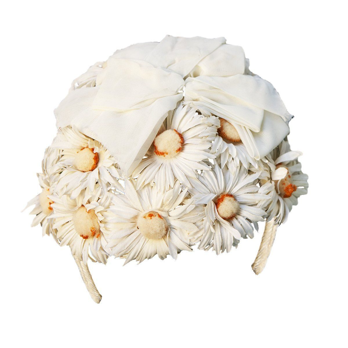 1950s Daisy Floral Half Hat