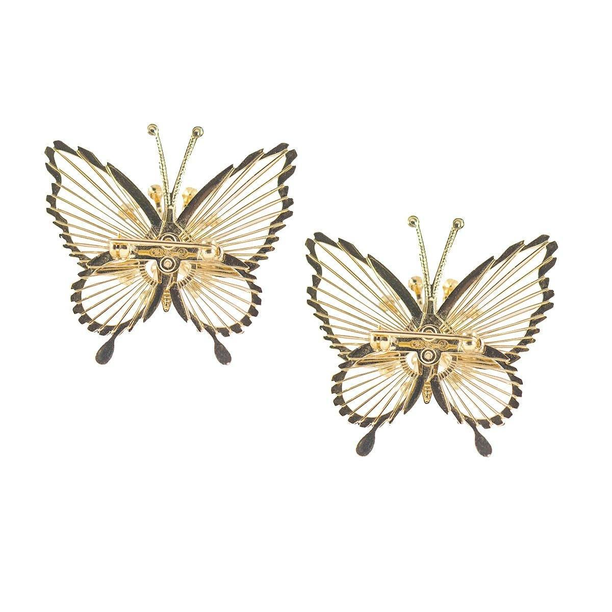 Vintage 50s Monet Butterfly Pins, Spinnerette Series – Set of Two