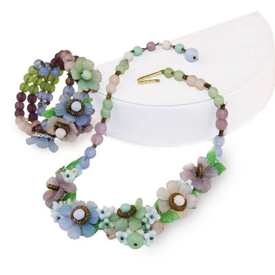 Vintage Glass Flower Choker Necklace & Bracelet Set, Prewar Germany