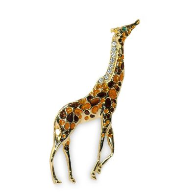 Poured Glass Giraffe Brooch, Rhinestones on Gold Metal
