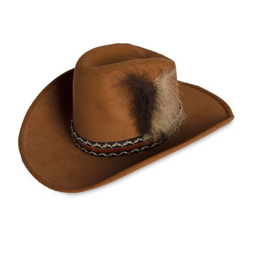 Vintage Cowboy Hat, Dark Tan Wool Felt, Feathers