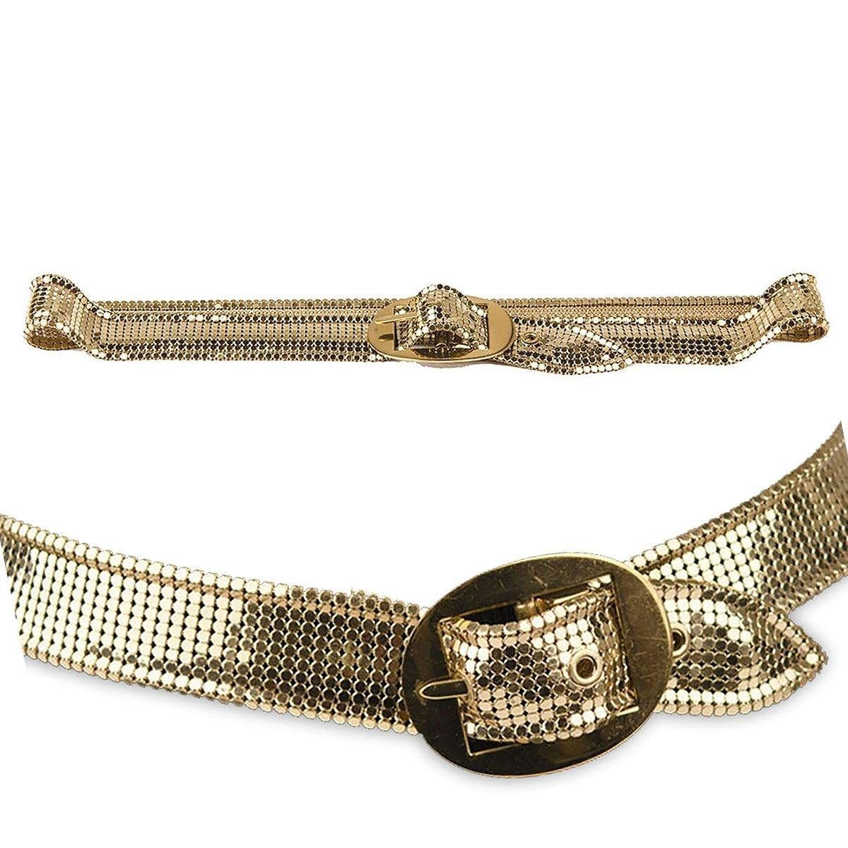 Vintage 80s Whiting Davis Gold Metal Mesh Belt, Schaffer Belts, Oval Buckle