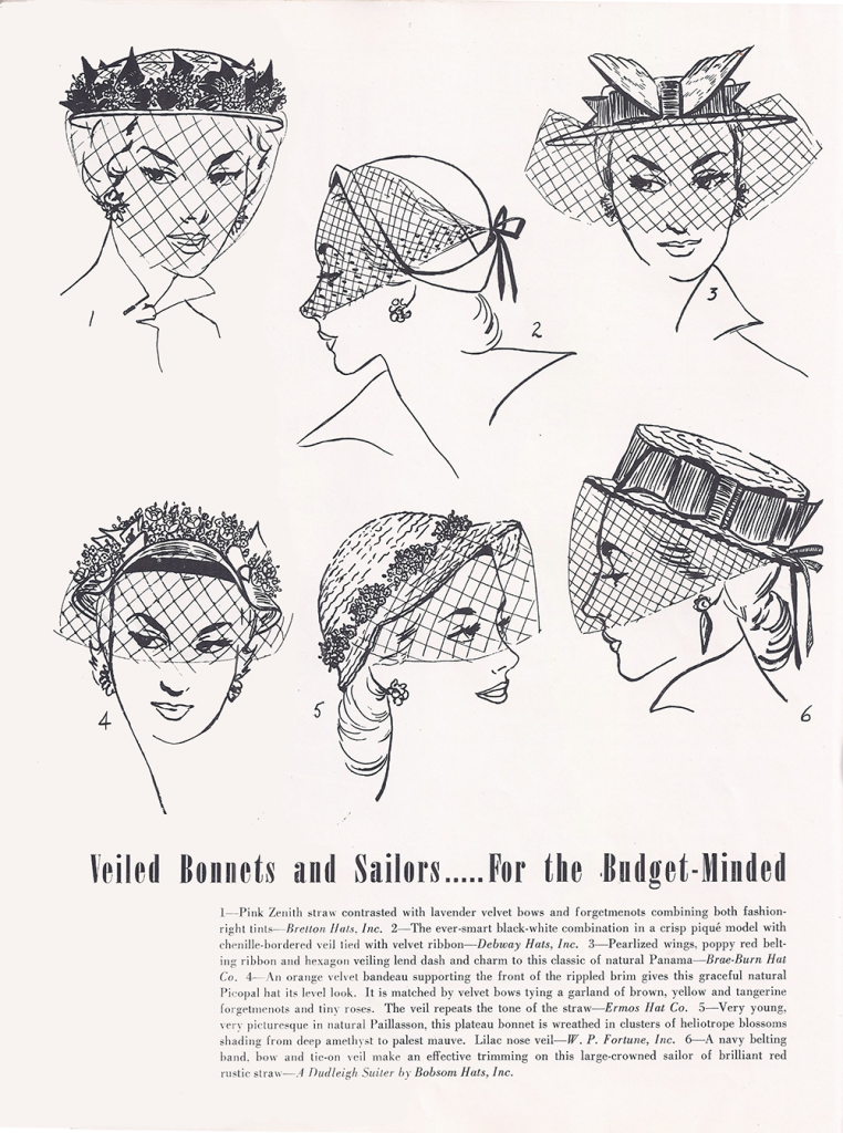 veiled hats with netting, spring 1951