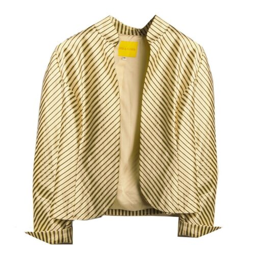 Flores & Flores Gold & Black Pinstripe Jacket, Size 14