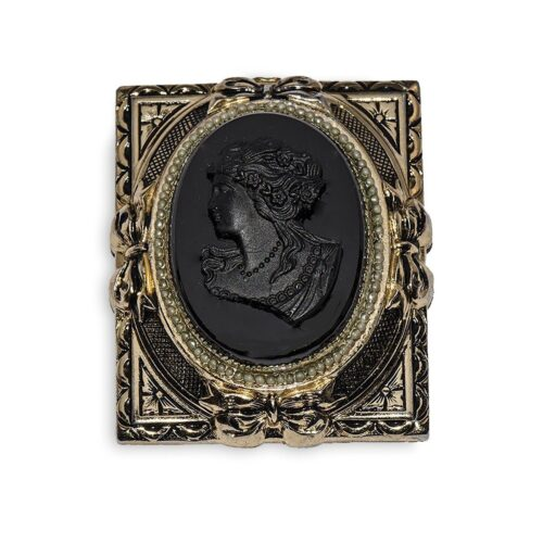 Vintage 1940s Coro Victorian Revival Black Mourning Cameo