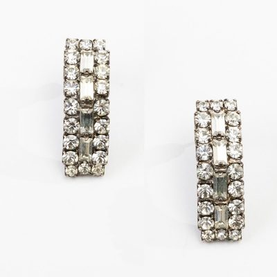Crystal pierced earrings