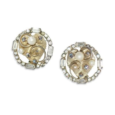 1950s Hobe Pearl & Rhinestone Earrings