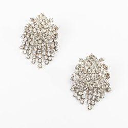 Vintage 80s Rhinestone Waterfall Chandelier Pierced Earrings