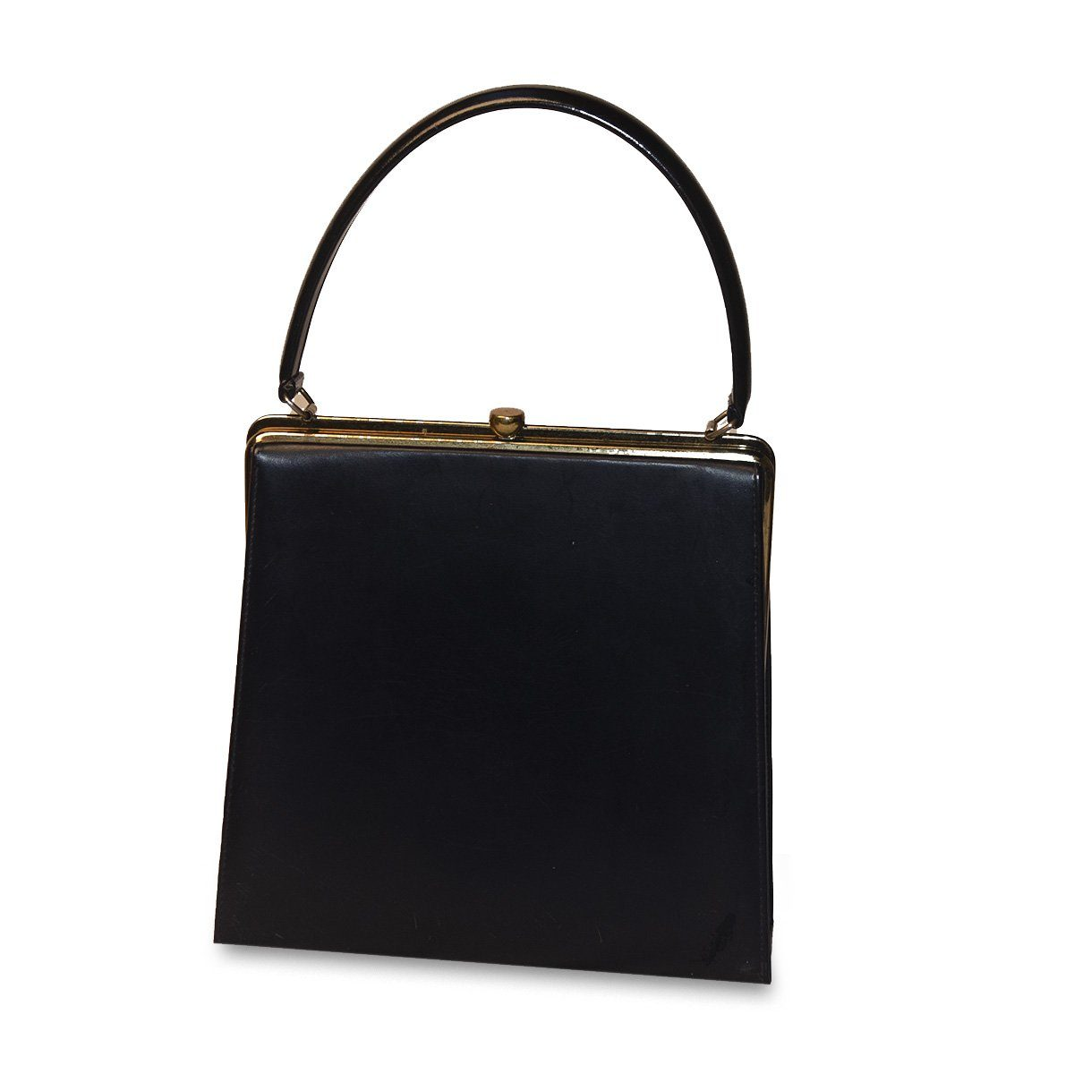 1950s Navy Blue Structured Handbag, Gold Hardware