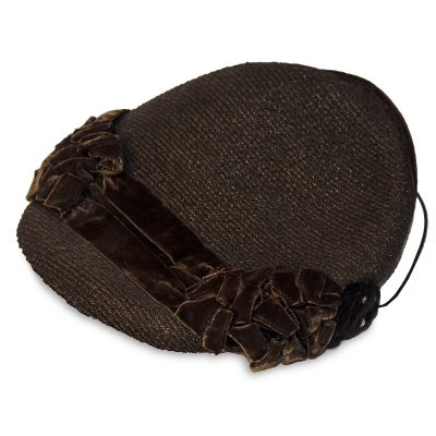 Brown Straw Close Hat, Brown Velvet & Rhinestone Trim