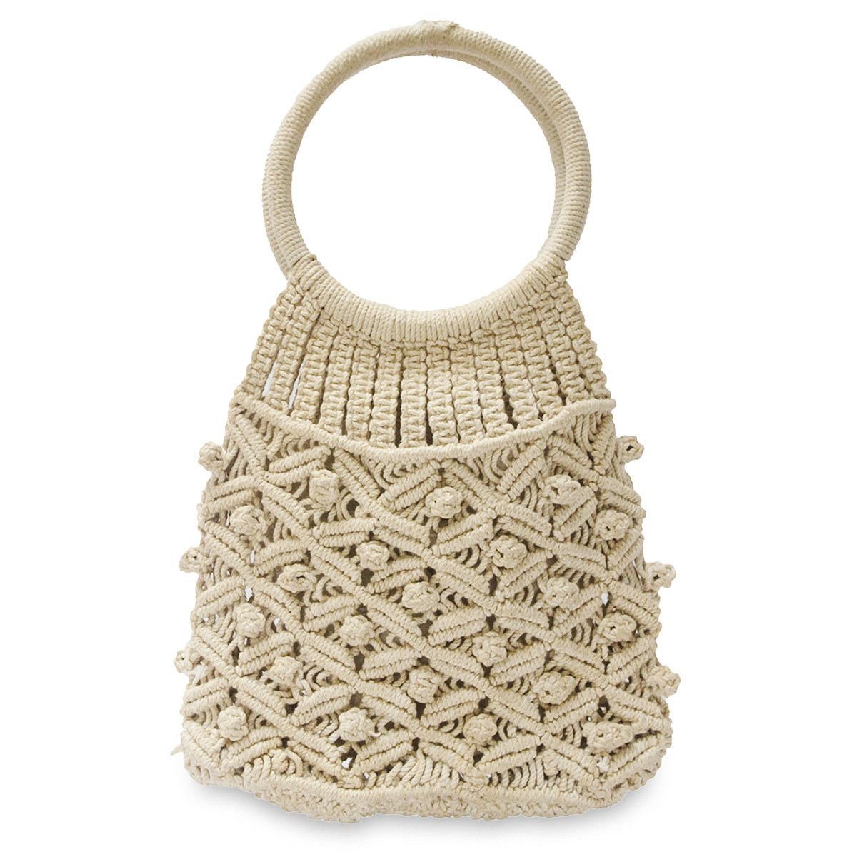 Vintage Macrame Handbag, Cream