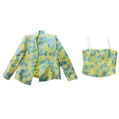 Flores & Flores Green Floral Jacket & Bustier, Size 14