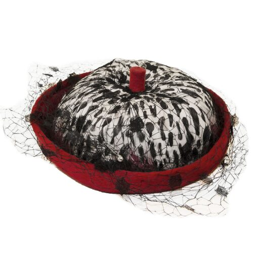 Leslie James Hat, Red, White & Black Feathers, Netting, Hat Size 20