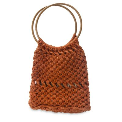 Vintage 70s Macrame Handbag, Dark Orange