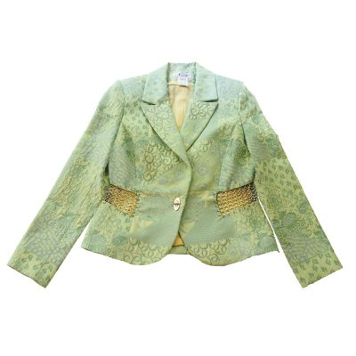 Terry Paris Green Brocade Blazer with Silver Chain Accents, Size Small