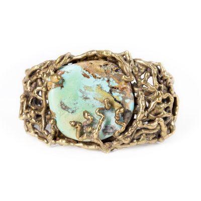 1960s Brutalist Cuff Bracelet, Gilt Brass & Turquoise