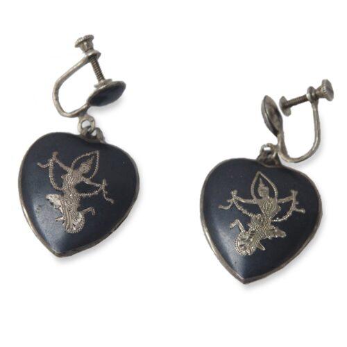 Vintage 1950s Siam Sterling Silver Heart Earrings, Screwbacks