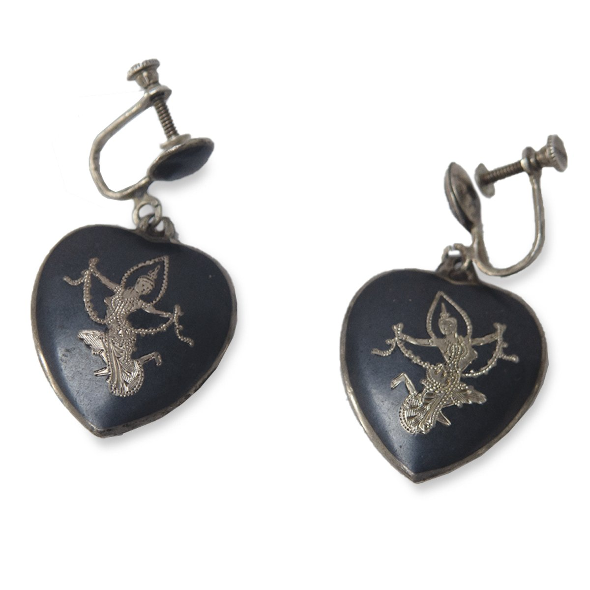 Vintage 1950s Siam Sterling Silver Heart Earrings, Screwbacks