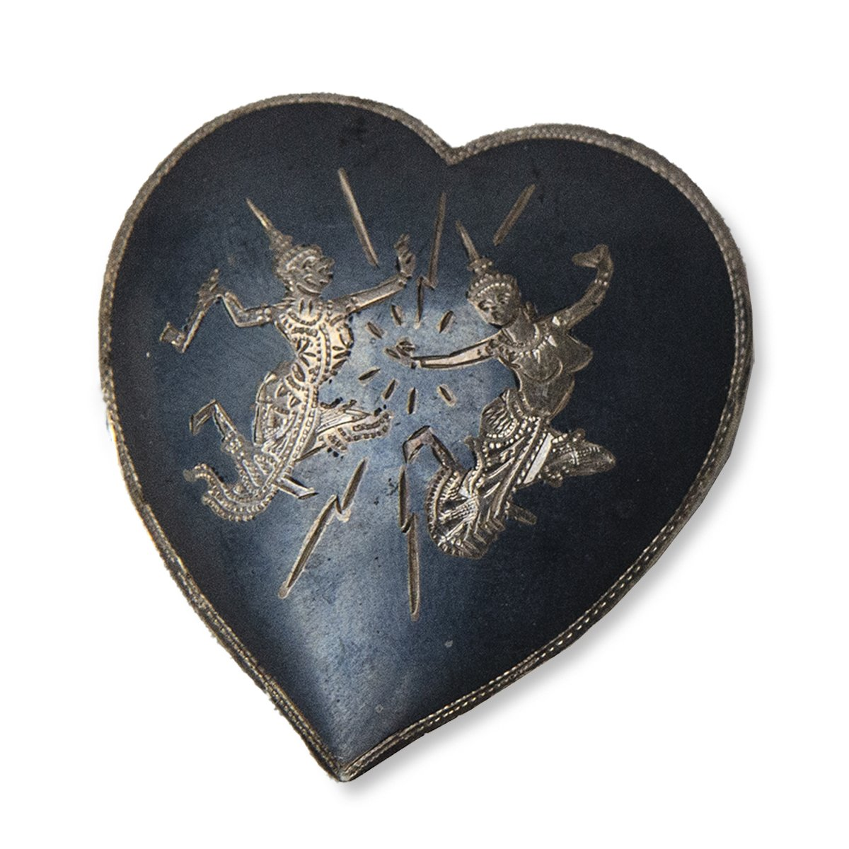 1940s Siam Sterling Silver Heart Pin