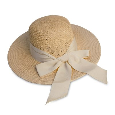 Vintage 60s Wide Brim Sun Hat, Natural Straw, Ribbon Hatband & Bow