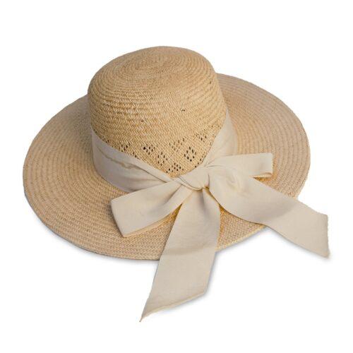 Vintage 60s Wide Brim Sun Hat, Natural Straw, Ribbon Hatband & Bow