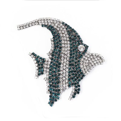 1980s Armani Brooch, Extra Large Rhinestone Angelfish