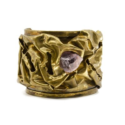 VIntage Dutra Brass Cuff Bracelet with Raw Amethyst Stone