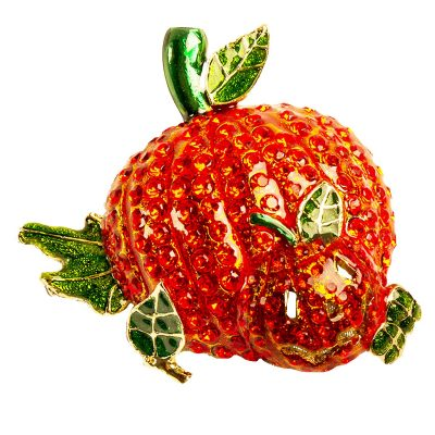 Pumpkin Jack-o-Lantern Pin, Halloween Brooch, Orange Crystals, Green Enamel
