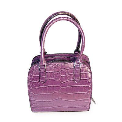 Small Purple Handbag, Faux Alligator Purse, Detachable Shoulder Strap, New Old Stock