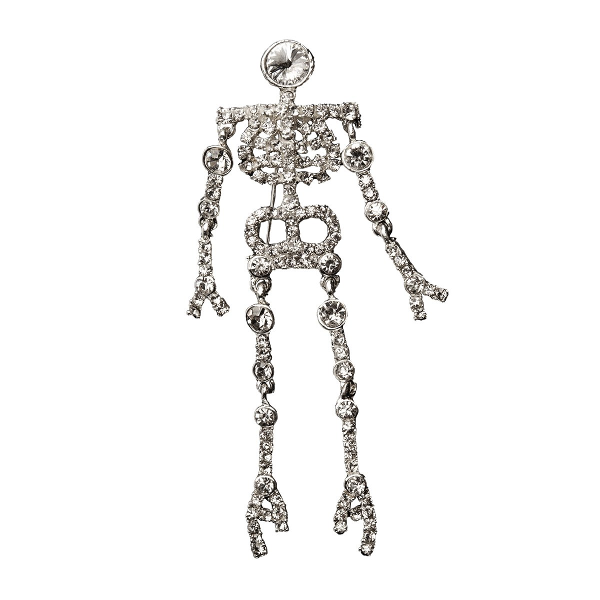 Halloween Skeleton Pin, 1970s Rhinestone Brooch