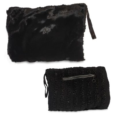 1950s Black Fur Hand Muff with Coin Purse, Sheared Beaver