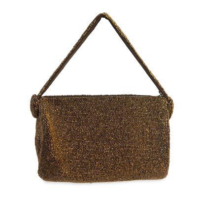 1940s Copper Beaded Evening Bag